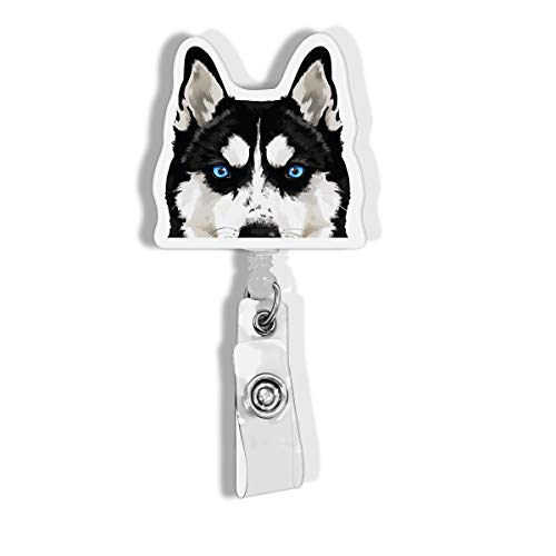 WIRESTER Retractable Badge Reel ID Holder with Alligator Clip for Office Worker, Medical Staffs, Student - Black Siberian Husky Dog