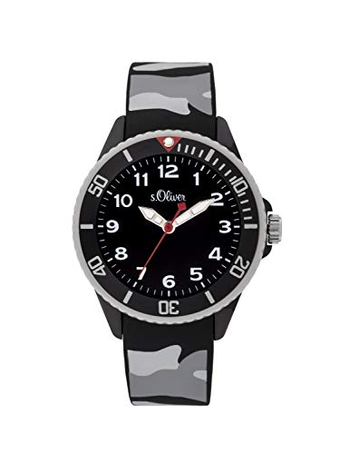 s.Oliver Jungen Analog Quarz Uhr mit Silikon Armband SO-3920-PQ