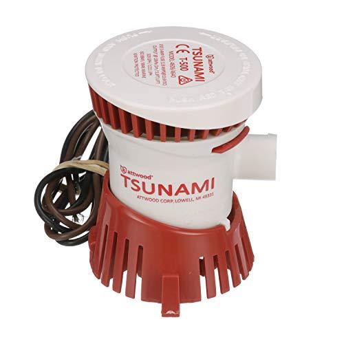 Attwood 4606-7 Tsunami T500 Bilge Pump, 500 GPH, 12-Volt, Barbed ¾-Inch Diameter Outlet, 29-Inch Wire