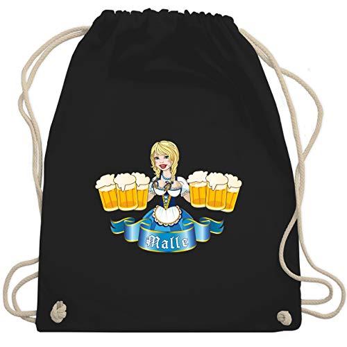 Shirtracer Urlaub - Malle Bier Mädl - Unisize - Schwarz - turnbeutel malle - WM110 - Turnbeutel und Stoffbeutel aus Baumwolle