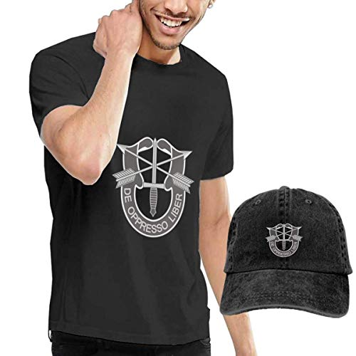 Baostic Camisetas y Tops Hombre Polos y Camisas, Army Special Forces Logo T-Shirts and Hats, Black Fashion Sport Casual T-Shirt + Cowboy Hat Set for Men