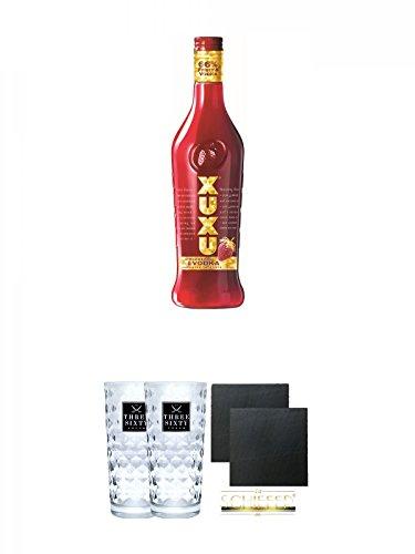Xuxu Erdbeer Limes mit Vodka 0,7 ltr. + Three Sixty Vodka Gläser 2 Stück + Schiefer Glasuntersetzer eckig ca. 9,5 cm Ø 2 Stück