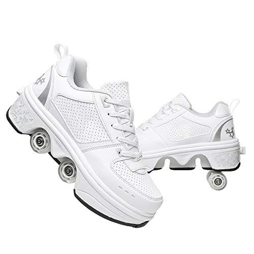 Roller Skate Patines First Walkers Sneakers, 2 En 1 Zapatos De Usos Múltiples, con Ruedas, Patinaje, Patinaje Línea, Botas Patas Ajustables,White-34