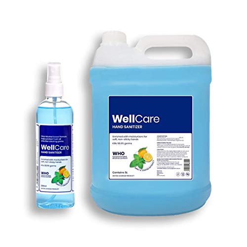 WellCare Hand Sanitizer Spray Liquid, 5L + 200ml | WHO Recommended 80% Alcohol | Mint & Lemon (5 Litre) (5 Ltr.)