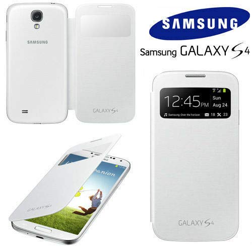 SAMSUNG S-VIEW S View FLIP CASE COVER ETUI TASCHE GALAXY S4 I9500 POLARIS WHITE NEU