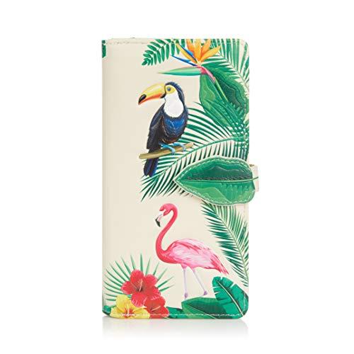Shagwear Junge-Damen Geldbörse, Large Purse Designs: (Flamingos Creme/Flamingos)