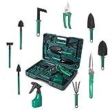 Set de herramientas de jardín, 10 en 1, herramientas de jardín robustas, con maletín de almacenamiento para los amantes del jardín HXC, Verde