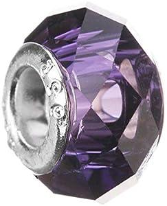 45 elección Venta caliente azul redondo cuentas de cristal de Murano Fit Pandora original pulsera de plata colgante DIY fabricación de joyas, sección púrpura