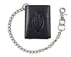 cheap Dickies Men's Tri-Fold Chain Wallet with ID Window and Credit Card Pocket Black One Size