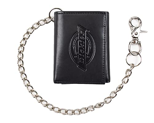 Dickies Men's Trifold Chain Wallet with ID Window and Credit Card Pockets, Black, One Size