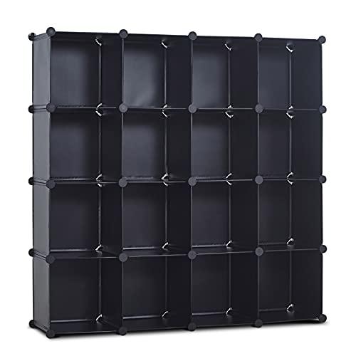 Cube Storage Organizer, CAMORSA 16-Cube Unit Bookcase, Portable Closet Organizer Storage Shelf Bookshelf Shoe Rack, DIY Modular Cabinet for Living Room, Shelves for Clothes, Books, Shoes, Toys