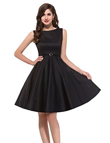 elegant schwarz vintage abendkleid knielang retro sommerkleid 50er jahre partykleider Größe M CL6086-13