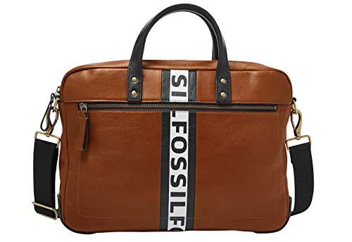 Fossil Haskell - Aktentasche aus braunem Leder 38 cm, Laptopfach, für Männer MBG9508222