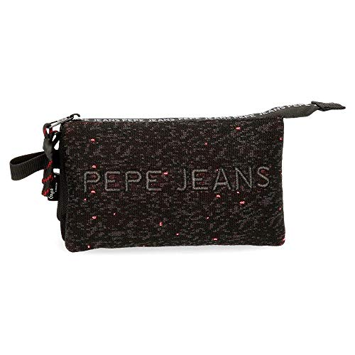Pepe Jeans Hike Estuche Triple Negro 22x12x5 cms Poliéster