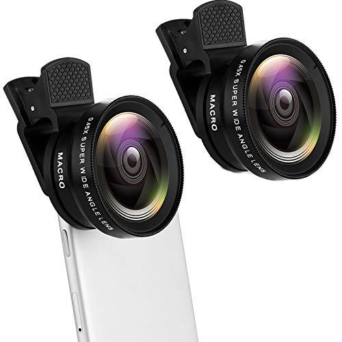 Kasachoy 2 lentes portátiles para cámara de teléfono celular, 2 en 1 con clip en ojo de pez+0.45X gran angular + lente macro 12.5X, kit de lentes de cámara HD universal para teléfono móvil