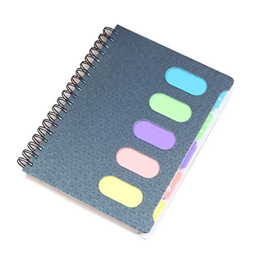 SFF Cuadernos de Oficina Cuaderno de Bobina Registro Diario de Estudiante Cuaderno de Notas Cuaderno de bocetos Tareas Libro 160 Hojas Azul Rosado Cuaderno de Tapa Blanda