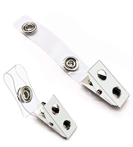 100Pcs Premium Metal Badge Clips with Clear PVC Straps for ID Cards, Badge Holders, Name Tags, Work Badges