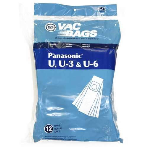 Package of 12 Replacement Panasonic U/U3/U6 Bags