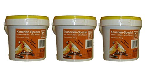 BASU Kanarien Spezial 3 x 750 g (2,25 kg) im Eimer - Alleinfutter für Kanarienvögel ohne Rübsen - Kanarienvogelfutter - Kanarienfutter