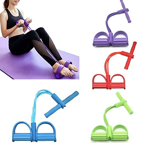 PowerLife Resistance Band Foot Pedal Elastic Pull Rope 4Tube Natural Latex Situp Bodybuilding Expander Fitness Equipment for Home Workout