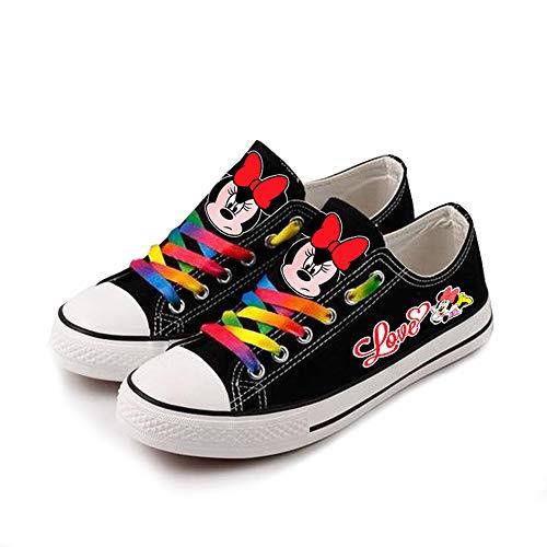 Mickey Mouse Unisex-Segeltuchschuhe Hi-Top Light Sneakers Modische Schnürschuhe-3