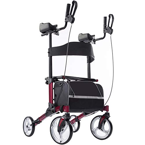 """Upright Rollator Walker with 10"""" Front Wheels, Seat and Backrest for Senior, Burgundy"""