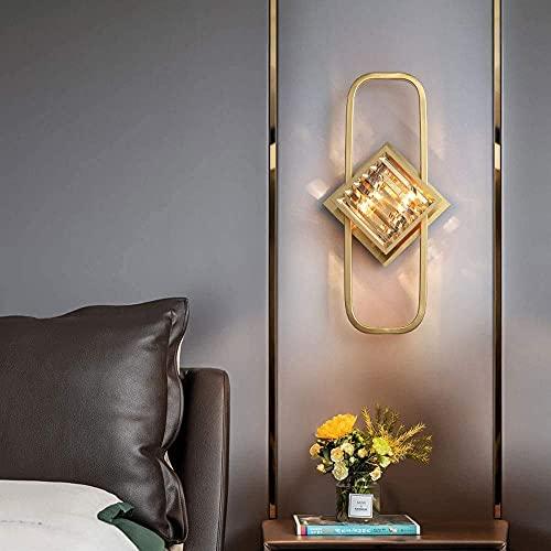 Lámpara de pared de cristal de lujo montado en la pared, marco de latón antiguo, para sala de estar, baño, dormitorio, pasillo, iluminación