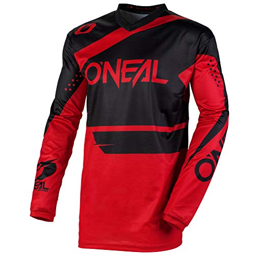 O\'NEAL | Motocross-Jersey Langarm | MX Enduro | Gepolsterter Ellbogenschutz, V-Ausschnitt, atmungsaktiv | Element Jersey Racewear | Erwachsene | Schwarz Rot | Größe M