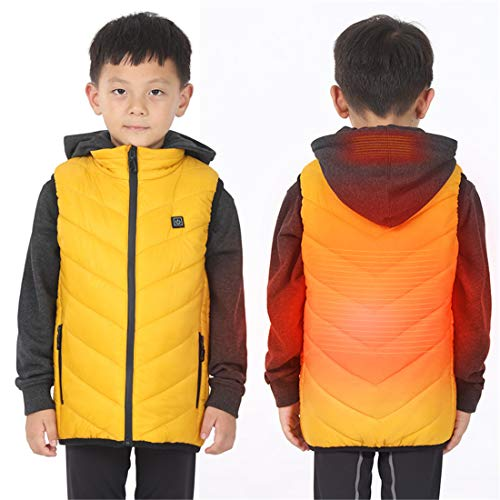 ZXLLAFT Children Electric Heating USB Sleeveless Vest Winter Heated Outdoor Jacket,Yellow,170cm