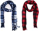 Pennycreek Fashions 2 Pcs Multicolour Check Pattern Mufflers Scarf Cum Scarves Cum Stoles Woollen Men and Women's Casual Soft And Warm