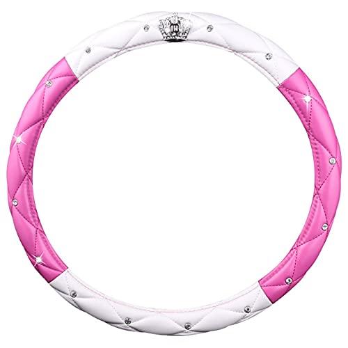 Dswe Corona de Coche de 38 cm con Cubierta de Volante de Diamante Accesorios de Coche Sin Productos químicos irritantes Cubierta de Volante - Blanco + Rosa roja - 38cm