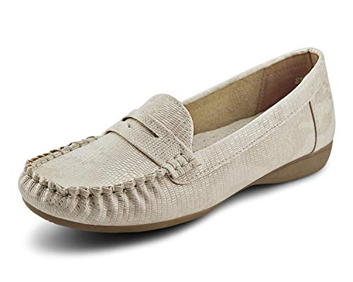 JABASIC Womens Casual Driving Slip On Flats Shoes Penny Loafer (8,LT.Gold)