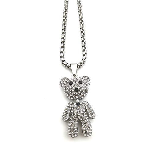 Collar con colgante de oso de cristal para hombre, con cadena de 67,6 cm, brillantes de imitación de panda y oso de piedra de circonita, ideal como regalo