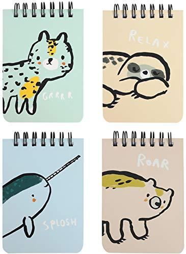 Emartbuy Quaderno A Spirale Con Copertina Rigida Animale Del Fumetto Diario Taccuino Bloc Notes Diario Di Scrittura Foderato A7 Formato 80 Fogli (160 Pagine) - Set di 4