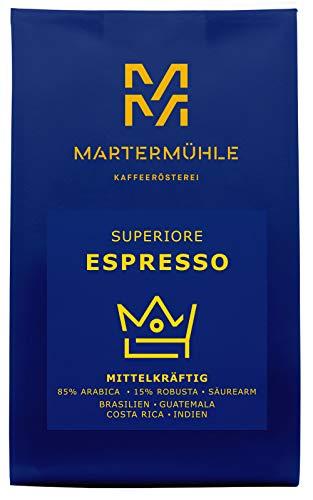 Martermühle   Espresso Superiore (1kg)   Ganze Bohnen   Premium Espressobohnen aus Brasilien, Guatemala, Costa Rica, Indien   Schonend geröstet   Espresso säurearm   85% Arabica 15% Robusta
