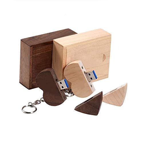 Anloter - Chiavetta USB 3.0 a forma di cuore, in legno di noce, 2 pezzi, 16 GB, USB 3.0