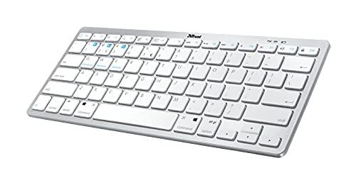 Trust Nado Bluetooth Tastatur mit QWERTZ Deutsches Layout, Funktastatur, Wireless, Kabellose Tastatur für Smartphone, iPad, Tablet, PC, Laptop, Android, MacOS, Windows