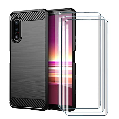 HYMY Etui do Sony Xperia 5 II + 3 x folia ochronna szkło pancerne - czarne etui ochronne z włókna węglowego miękkie TPU etui na telefon komórkowy etui na telefon komórkowy silikon etui na telefon komórkowy na zewnątrz amortyzacja uderzeń