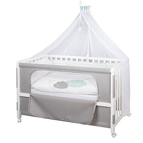 Roombed de roba, cuna de colecho de 60x120 cm con textiles \'Happy Cloud\', vestiduras incluidas (funda de almohada, funda edredón, protector, dosel, portadosel y colchón)