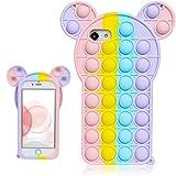 Besoar Colour Mouse para iPhone 6/6S/7/8/SE 2020 Funda Diseño Gracioso Dibujos Niños Elegante Niñas Mujer Lindo Precioso Moda Suave Divertido Frio Burbuja Casos para iPhone 6/6S/7/8/SE 2020 4.7' 6.5'