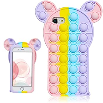 oqpa for iPhone 7/8/SE 2020/6/6S Case Cartoon Kawaii Funny Cute Fun Silicone Design Cover for Girls Kids Boys Teen Fashion Cool Unique Fidget Mouse Bubble Cases  for iPhone 7/8/SE 2020/6/6S 4.7