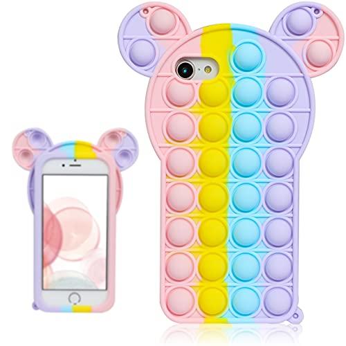 Chenyun Besoar Colour Mouse Fidget Caso per iPhone 6/6S/7/8/SE 2020 4.7' Ragazzi Cover Carattere Fun Casi Divertente Fantastico Carino Kawaii Ragazze Unico Bambini per iPhone 6/6S/7/8/SE 2020