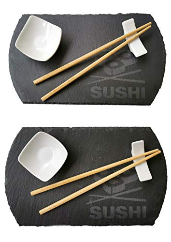 Vajilla Sushi para 2 personas - 10 piezas - 2 Platos Pizarra Negra, 2 Cuencos para Salsas, 2 Soportes para Palillos Bambu - Moderna Elegante, Oriental Japonesa