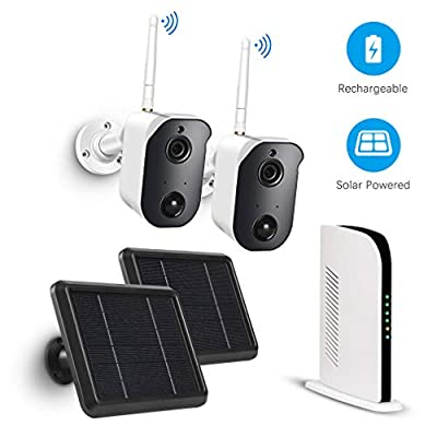 Wireless Home Security Camera System Outdoor Solar Powered Battery Rechargeable Panel, Night Vision, Indoor, 1080p, 2-Way Audio, Wall Mount with 2 WiFi Camera kit and 128G TF Card PIR Motion Sensor