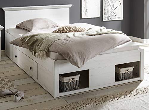 GuenstigEinrichten Bett Hooge in Pinie weiß Landhaus Stauraumbett mit 2 x Bettschubkasten Liegefläche 140 x 200 cm Landhausstil (Bett 140 cm)