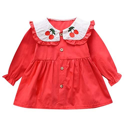 Moneycom - Vestido de Princesa para niña de Frutas y Cereza, Estampado de Manga Larga, para cumpleaños, Bodas y Fiestas. Rojo 2-3 Años