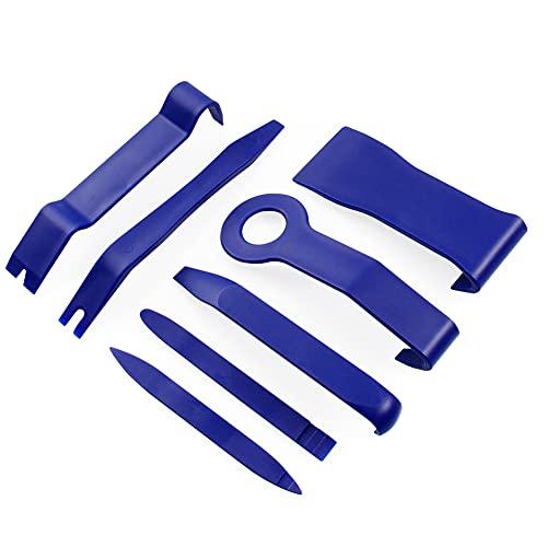 JUNING Herramientas de Desmontaje para Desmontar el Salpicadero, Audio de Coche, Extraer Tapicerías de Vehículos, 7 PCS Palancas de Plastico para Coche con Estuche