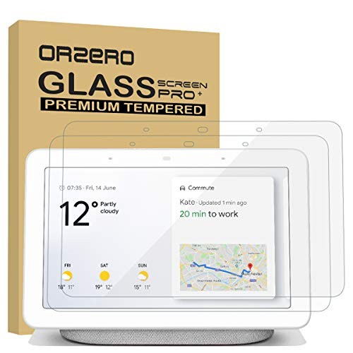 (2 Pack) Orzero for Google Home Hub 7 Inch, Nest Hub Tempered Glass Screen Protector, 9 Hardness HD Anti-Scratch Full-Coverage (2.5D Arc Edges) (Lifetime Replacement)