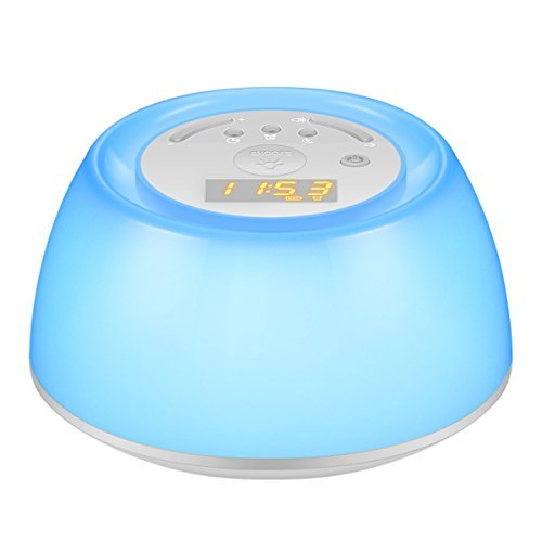 ORIA Wake Up Light Beside Rechargeable Clock 256R Sunrise Simulation Alarm Clock with Sunset Snooze Function Touch Control Night Light for Bedroom Playroom Nursery Babyroom