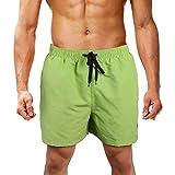 LK LEKUNI Bañador Hombre Pantalones de Playa con Forro con Cordón Traje de Baño Pantalón Ceñido_Verde_L